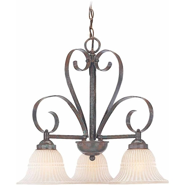 Volume Lighting V3323 Florentia 3 Light 1 Tier Chandelier with Scavo Glass Bell - Imperial Bronze