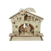 "6.5"" LED Lighted Wooden Battery Operated Nativity Scene Christmas Table Top Decoration - brown"