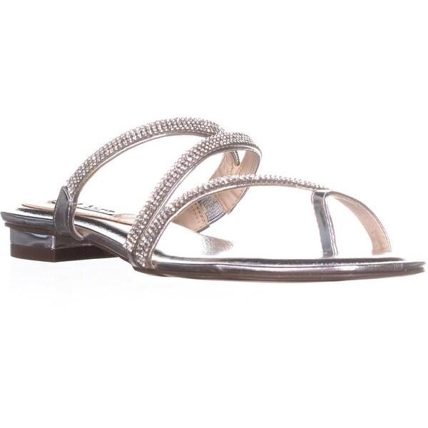 Nina Kaileen Slip On Heeled Sandals, Silver Met Foil - 8 us