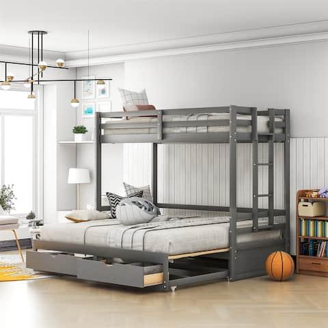 Merax Twin over Twin/Full/King Convertible Bunk Bed