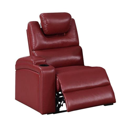 43 Inch 1 Sector Arm Leatherette Reclining Chair, Red