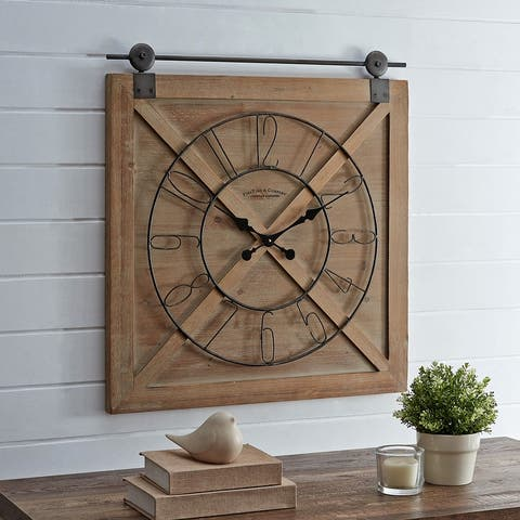 FirsTime & Co. Farmstead Fir Wood Barn Door Wall Clock