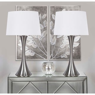 Link to Copper Grove Alchevsk Brushed Nickel Table Lamps with Textured White Linen Drum Shades (Set of 2) Similar Items in Table Lamps