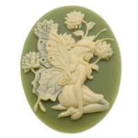 Lucite Oval Cameo - Olive Green With Ivory Fairy And Flowers 40x30mm (1 Piece)