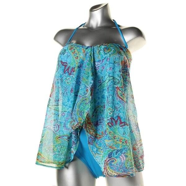 Lauren Ralph Lauren Womens Mesh Overlay Bandini One-Piece Swimsuit