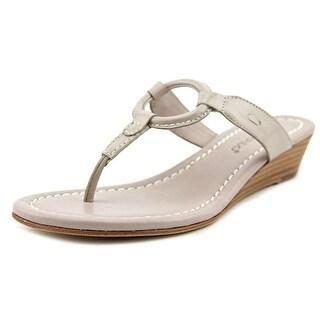 Bernardo Matrix Wedge Women Open Toe Leather Tan Thong Sandal