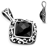 Diamond Filigree with Faceted Black Square CZ Stainless Steel Pendent (27 mm Width)