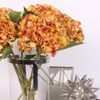 "FloralGoods Silk Hydrangea Stem in Yellow Orange 18"" Tall"