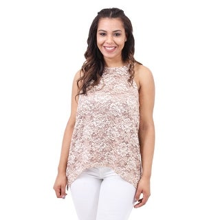 Sleeveless Metallic Lace Top
