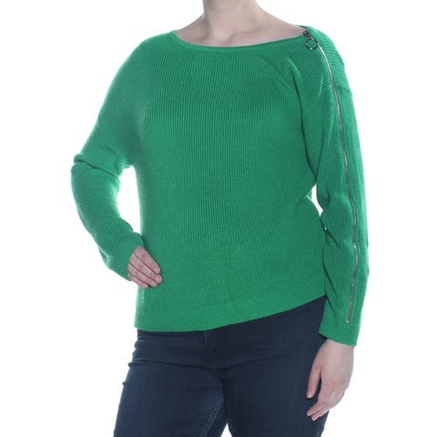 BAR III Womens Green Zipper Sleeve Long Sleeve Sweater Size: XL