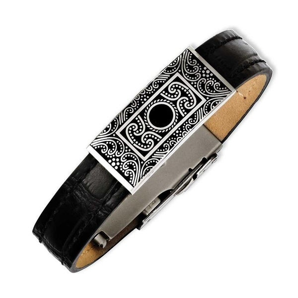 Chisel Stainless Steel Black Leather with Decorative Accent 7.5in Bracelet
