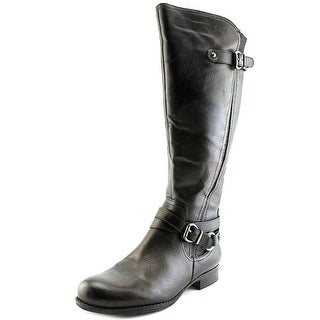Naturalizer Jovana Wide Calf Women Round Toe Leather Black Knee High Boot