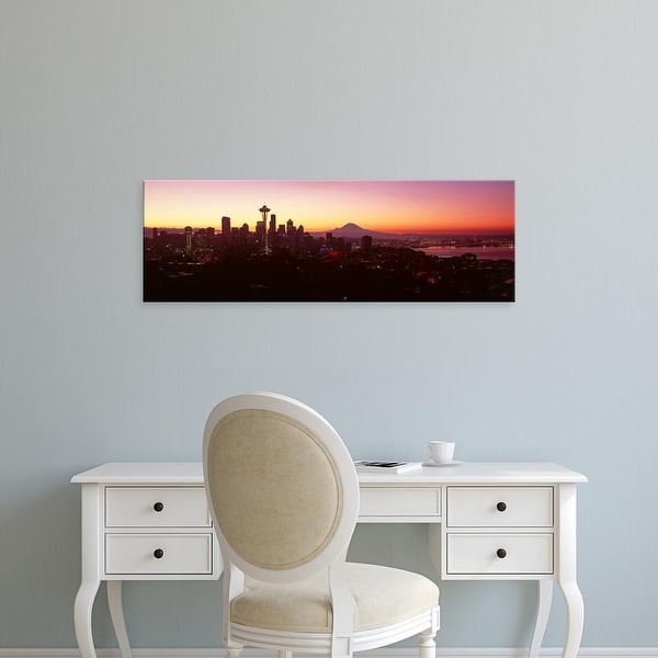 Easy Art Prints Panoramic Images's 'View of a city at sunrise, Seattle, Mt Rainier, King, Washington State' Canvas Art