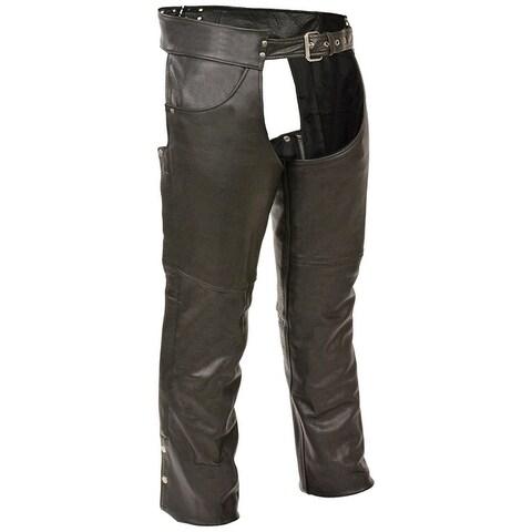 Mens Premium Black Leather Plain Lined Biker Chaps