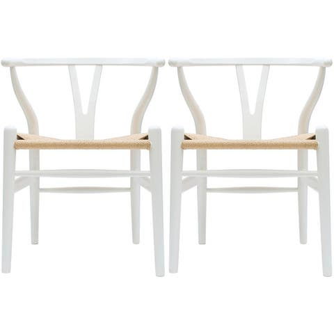 2xhome Set of 2 White Modern Wood Dining Chair With Y Back Arm Armchair Hemp Seat For Home Restaurant Office