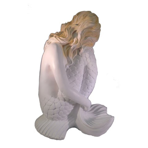 "Sea Creations Mermaid Bent Knee Figurine 14"" White"