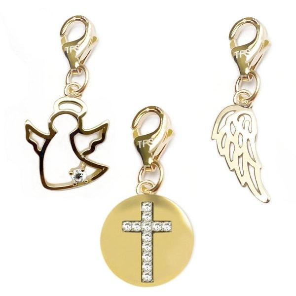 Julieta Jewelry Cross Disc, Angel, Angel Wing 14k Gold Over Sterling Silver Clip-On Charm Set