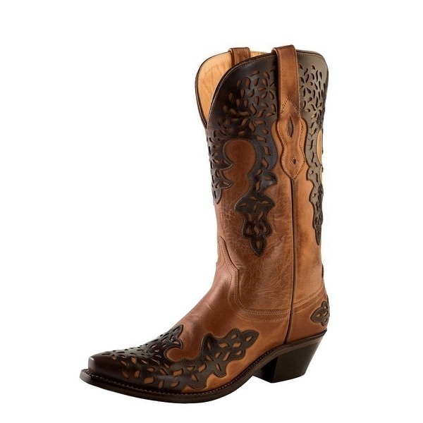 Old West Cowboy Boots Womens Overlay Leather Lined Barnwood