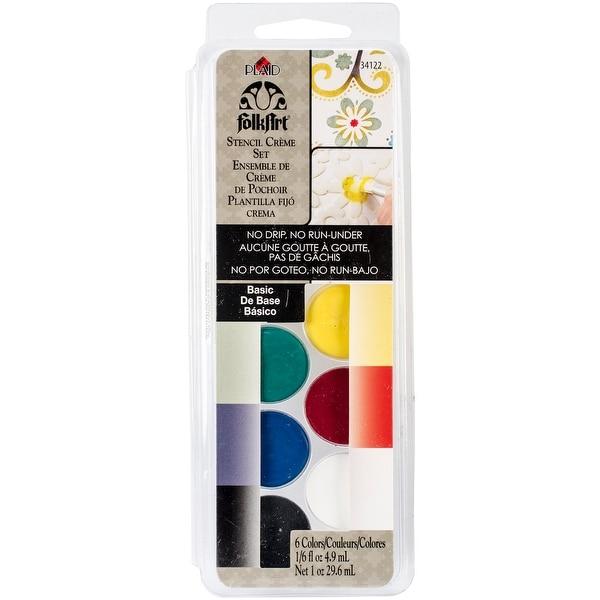 FolkArt Stencil Cream Paint Set 6/Pkg-Basic