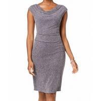 Jessica Howard Gray Womens Size 16 Cowl Neck Shimmer Sheath Dress