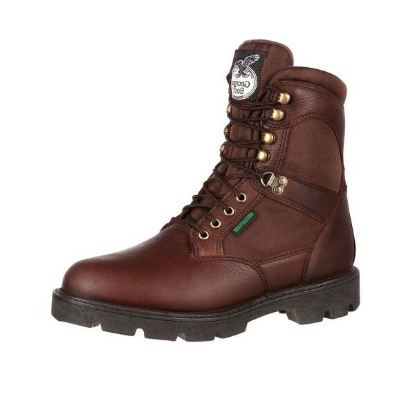 """Georgia Boot Work Mens 8"""" Homeland Waterproof Leather Brown"""