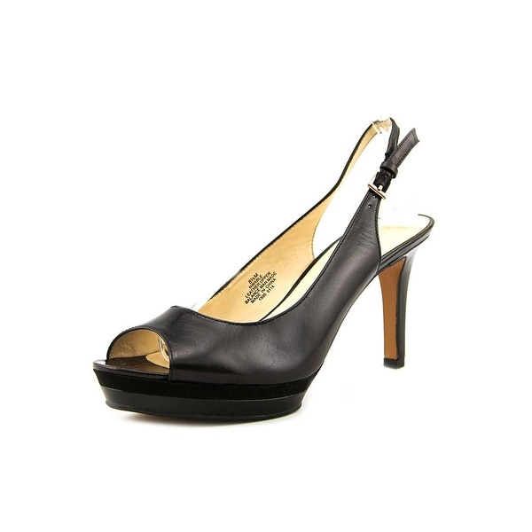 6feab0f81e Shop Nine West Able Women Open-Toe Leather Black Slingback Heel ...