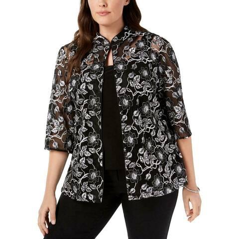 Alex Evenings Women's Jacket Plus 2-Piece Floral Sequin