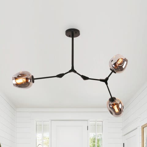 Modern Full-angle Adjustable Chandelier with Smoked Glass Shades