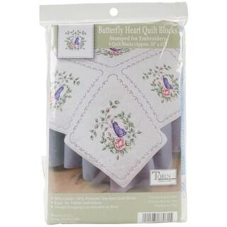 "Stamped White Quilt Blocks 18""X18"" 6/Pkg-Butterfly Heart"