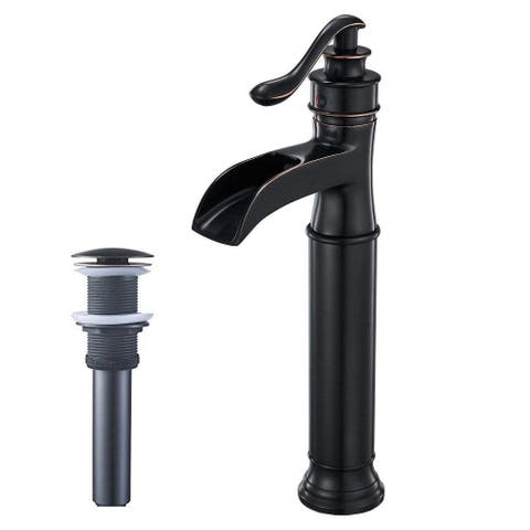 Vibrantbath Commercial Waterfall Bathroom Sink Vessel Faucet with Drain