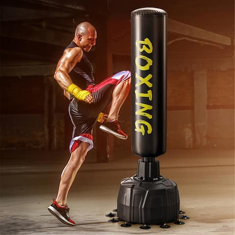 Freestanding Punching Bag, Heavy Boxing Bag with Suction Cup Base,Kickboxing Bag Stand