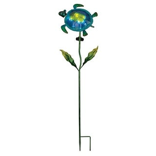 Ocean Animal Blue and Green Sea Turtle Solar Powered Garden Stake 40 Inch