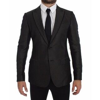 Dolce & Gabbana Green Silk Slim Two Button Blazer - it46-s