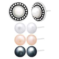 Honora Set of 4 Freshwater Pearl Stud Earrings with Jacket in Sterling Silver - multi-color