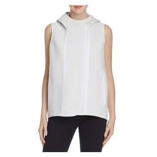 Elie Tahari Womens Margie Vest Hooded Contrast Trim