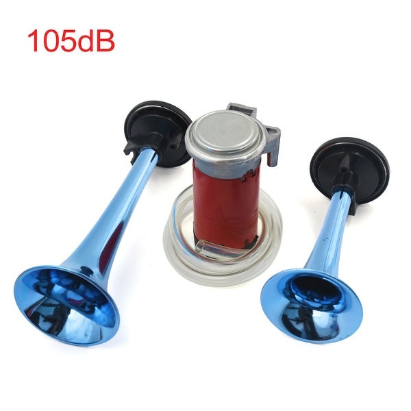 universal car boat 12v 30a blue dual twin trumpet air horn compressor kit  105db
