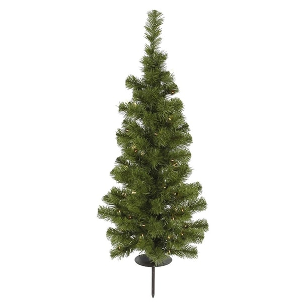 3' Pre-Lit Solar Powered Artificial Stake Christmas Tree - Clear LED Lights