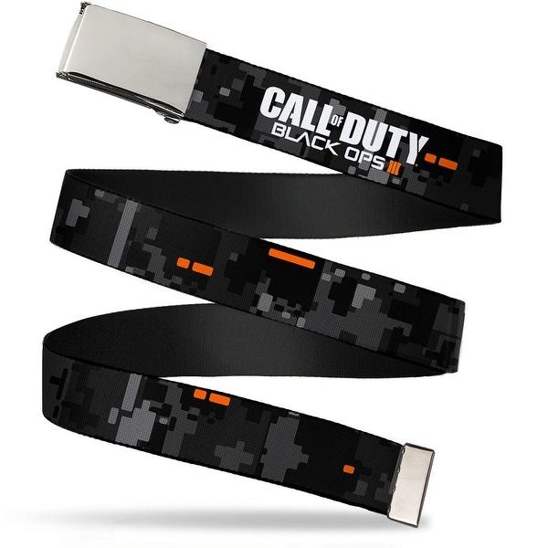 "Blank Chrome 1.0"" Buckle Call Of Duty Black Ops Iii Digital Camo Grays Web Belt 1.0"" Wide - S"
