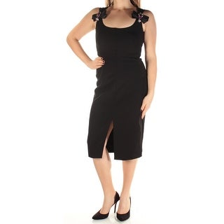 Womens Black Sleeveless Knee Length Sheath Cocktail Dress Size: 10