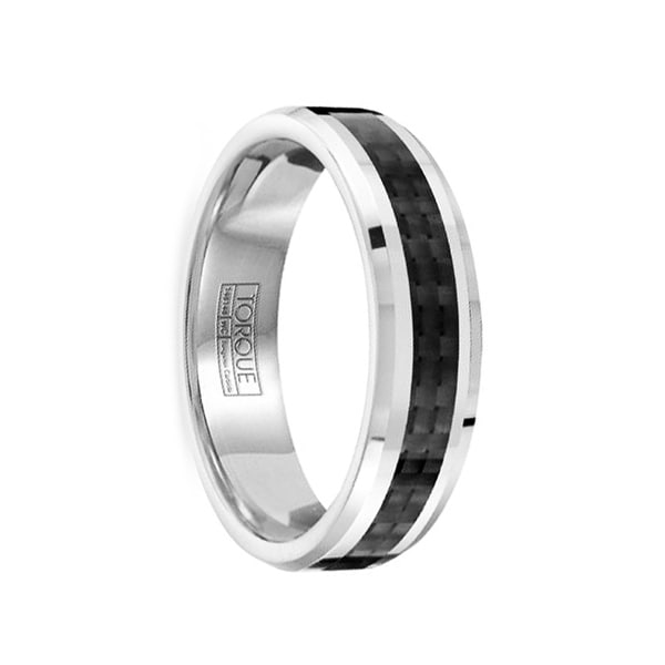 MARCELLINUS Polished & Brushed Tungsten Comfort Fit Ring with Black Carbon Fiber Inlay by Crown Ring - 6mm