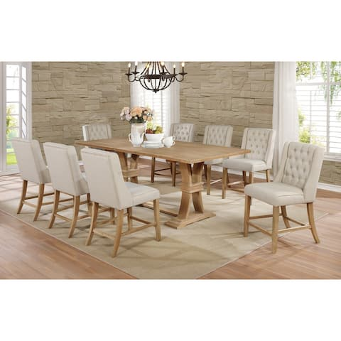 """Best Quality Furniture Rustic 9pc 18"""" Leaf Counter Height Dining Set"""