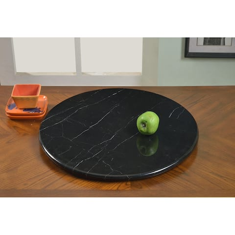 """Somette Lazy Susan 24"""" Round Black Marble Rotating Tray - 24-inch"""