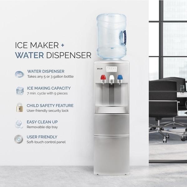 695a0e2a13 DELLA Silver Hot Cold Water Dispenser Child Safety Lock Top Loading Counter  Top Cooler Push Button