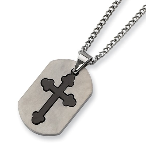 Chisel 2 Piece Brushed and Black Plated Stainless Steel Cross Dogtag with 22 Inch Chain (2 mm) - 22 in