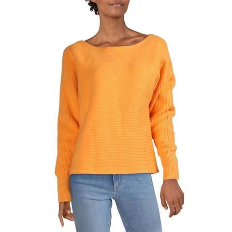 Aqua Womens Sweater Boatneck Ribbed - Orange