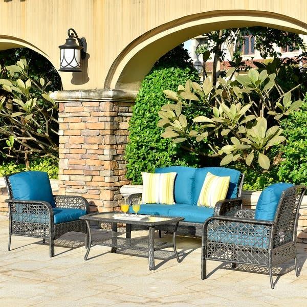 Ovios 4 Piece Water Resistant Wicker Deep Seating Outdoor Sofa Set Overstock 29258382