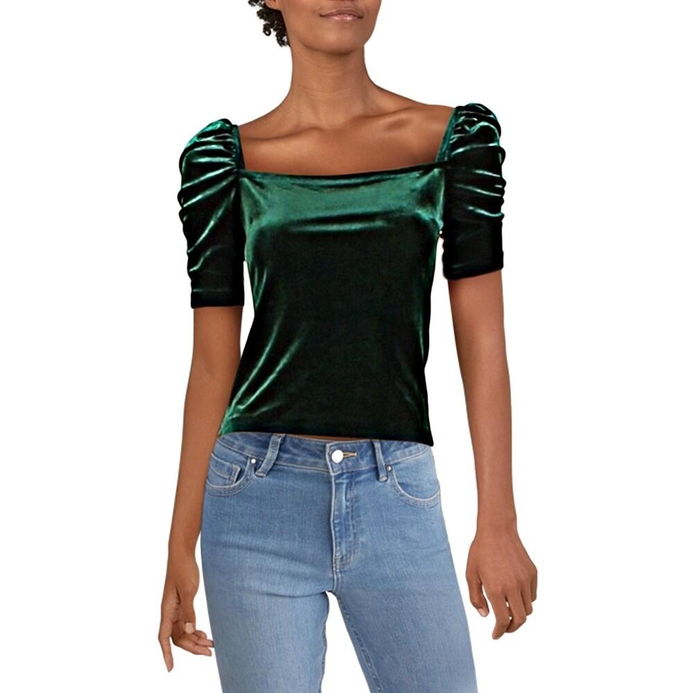 Aqua Womens Puff Sleeve Ruffled Tee Pullover Top Shirt BHFO 1715