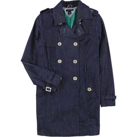 Tommy Hilfiger Womens Epaulette Trench Coat, Blue, Small