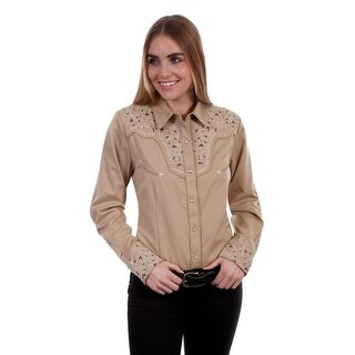 Scully Western Shirt Womens L/S Snap Two Tone Scroll Embroidery PL 866 (Option: Tan)