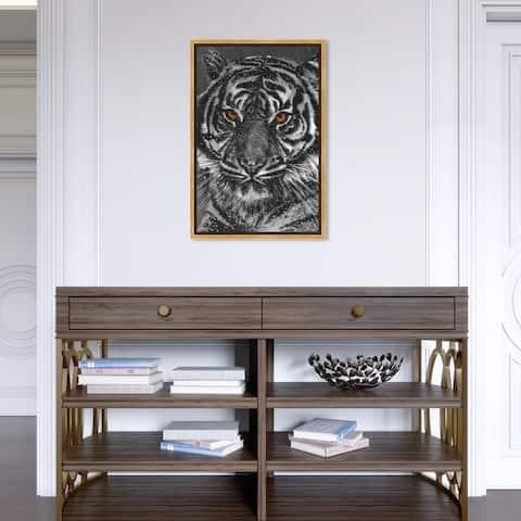 Oliver Gal 'Tiger Stripes Glitter' Animals Wall Art Framed Canvas Print Felines - Black, White